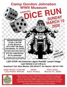 Camp Gordon Johnston Days Dice Run, Sunday, March 15, 2020, Carrabelle, FL