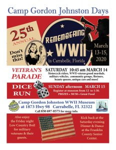 Camp Gordon Johnston Days Parade and Dice Run, March 13-15, 2020 in Carrabelle, FL
